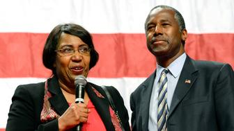 ANAHEIM, CA - SEPTEMBER 09: Candy Carson and Republican presidential candidate Ben Carson speak during a campaign rally at the Anaheim Convention Center September 9, 2015 in Anaheim, California. Carson's poll numbers have surged nationally and in the early voting state of Iowa following his performance in the first Republican debate on August 6 to the point where he now trails only frontrunner Donald Trump. (Photo by Kevork Djansezian/Getty Images)
