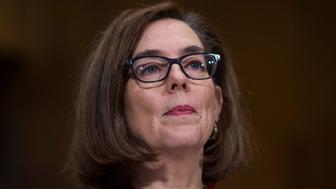 UNITED STATES - MARCH 08: Gov. Kate Brown, D-Ore., prepares to testify during a Senate Health, Education, Labor, and Pensions Committee hearing in Dirksen Building titled 'The Opioid Crisis: Leadership and Innovation,' on March 08, 2018. (Photo By Tom Williams/CQ Roll Call)