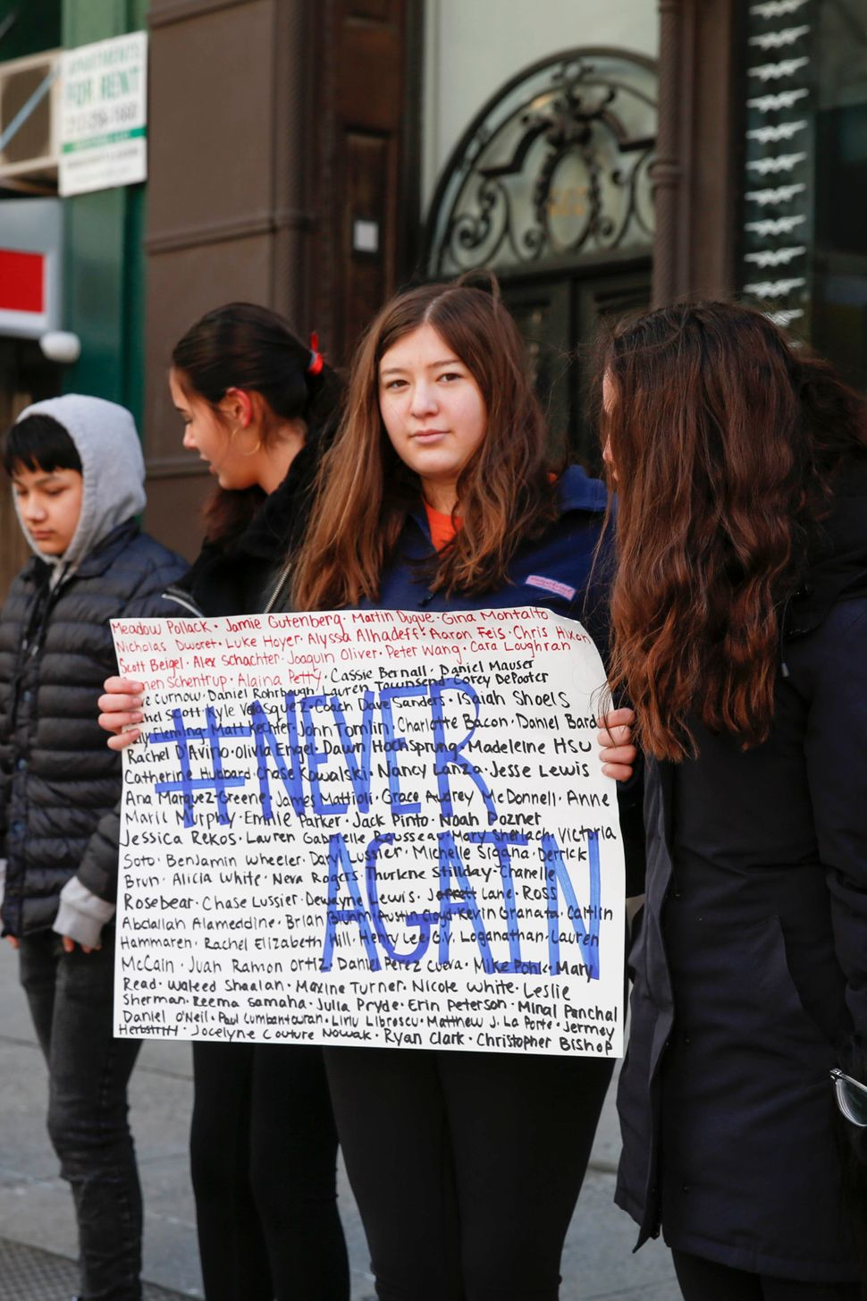 Students from Grace Church School walk out in New York City.