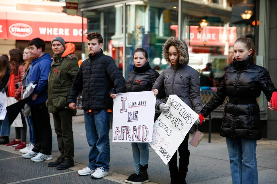 Students from Grace Church School walk out in New York City