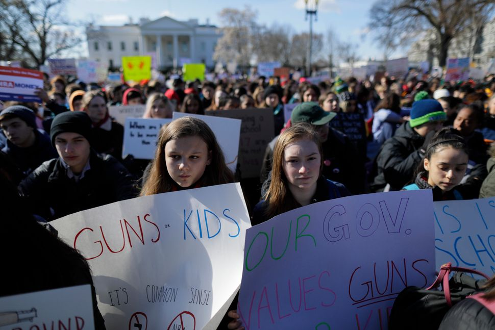 Students gather outside the White House in Washington, D.C.