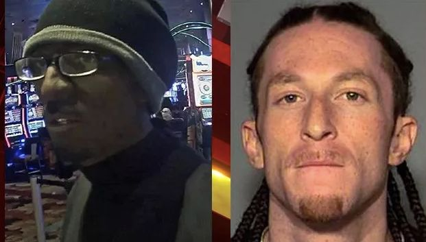 Cameron James Kennedy, 26, is accused of robbing a casino cage at the New York-New York casino in Las Vegas while wearing bla