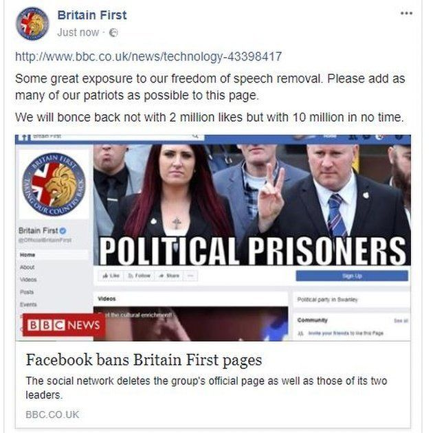 The Facebook page, which has now been