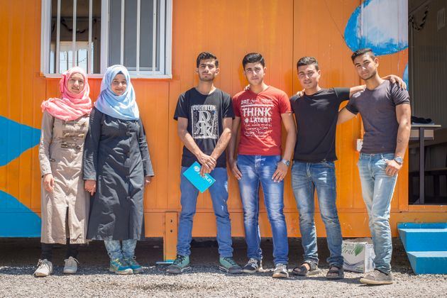 The time bank team (from left to right): Huda, Esraa, Mohammad, Yasser, Hassan,