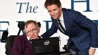 LONDON, ENGLAND - DECEMBER 09:  Professor Stephen Hawking and Eddie Redmayne attend the UK Premiere of 'The Theory Of Everything' at Odeon Leicester Square on December 9, 2014 in London, England.  (Photo by Karwai Tang/WireImage)