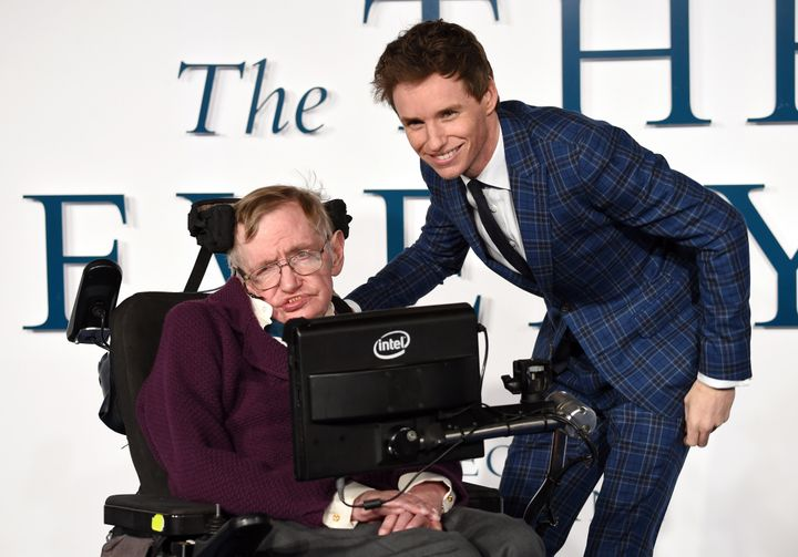 Stephen Hawking and Eddie Redmayne attend the UK Premiere of 'The Theory Of Everything'.