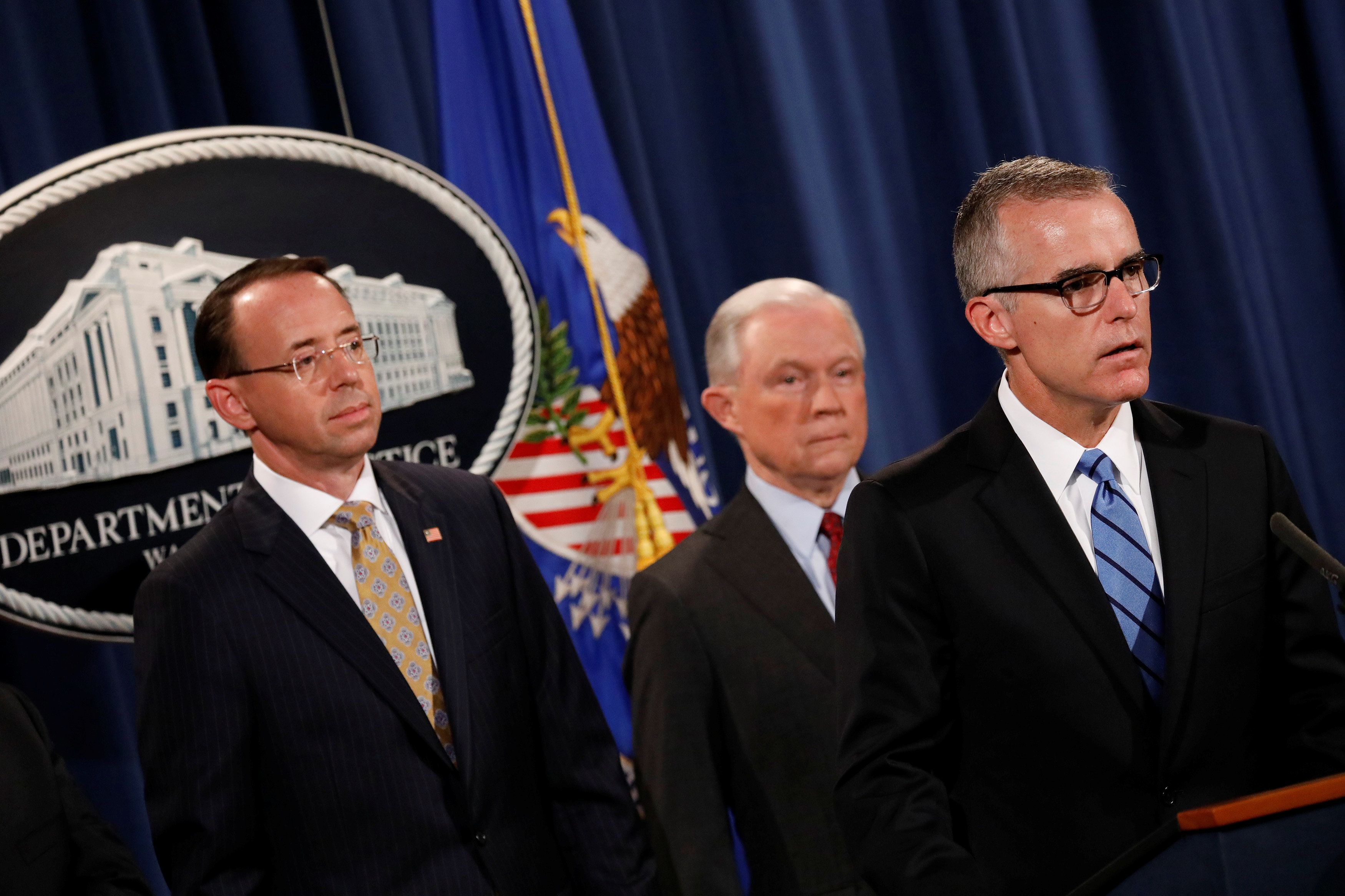 FBI acting Director Andrew McCabe speaks during a news conference, July 20, 2017.