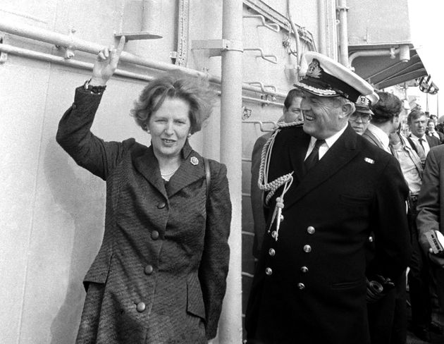 Margaret Thatcher aboard HMS Hermes as it arrived back from the Falklands war.