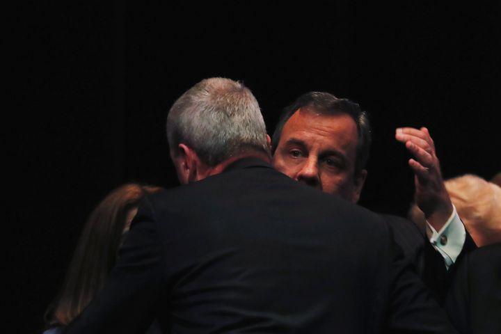 Phil Murphy greets his predecessor, Chris Christie, after taking the oath of office in Trenton on Jan. 16.