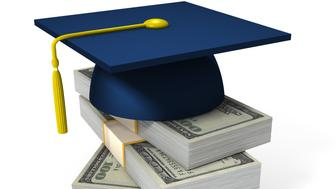 Education and money relation concept. Isolated on white. High quality 3D render.