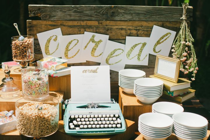 A cereal bar at a brunch wedding makes the celebration feel fun and laidback instead of intimidatingly formal.