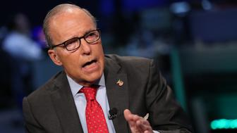 POWER LUNCH -- Pictured: Larry Kudlow, conservative economist and former host of CNBC's 'The Kudlow Report,' considering a Senate bid against Senator Blumenthal, shown here in an interview on September 15, 2015 -- (Photo by: Adam Jeffery/CNBC/NBCU Photo Bank via Getty Images)