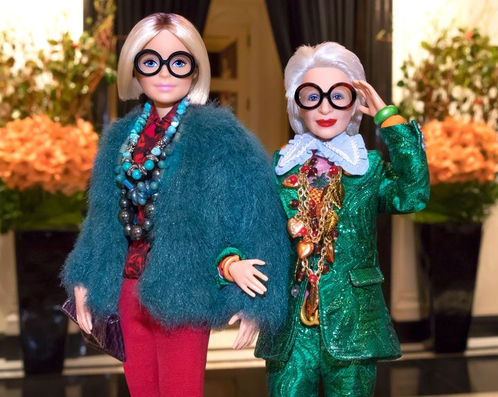A regular Barbie (L) and Apfel's Barbie (R).