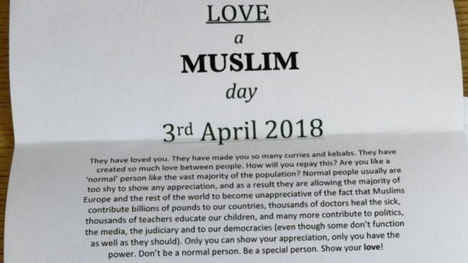 """A close-up of a """"Love a Muslim"""" letter created by Shahab Adris."""