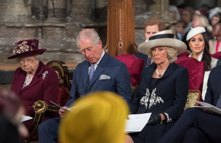 Queen Elizabeth II, Prince Charles, Camilla, Duchess of Cornwall, Prince Harry and Meghan Markle attend the Commonwealth Service at Westminster Abbey on March 12.