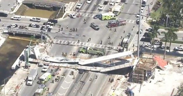 At least six people are dead following a pedestrian bridge collapse in Miami on