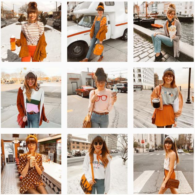A glimpse at @steffy's orange-tinted Instagram account.
