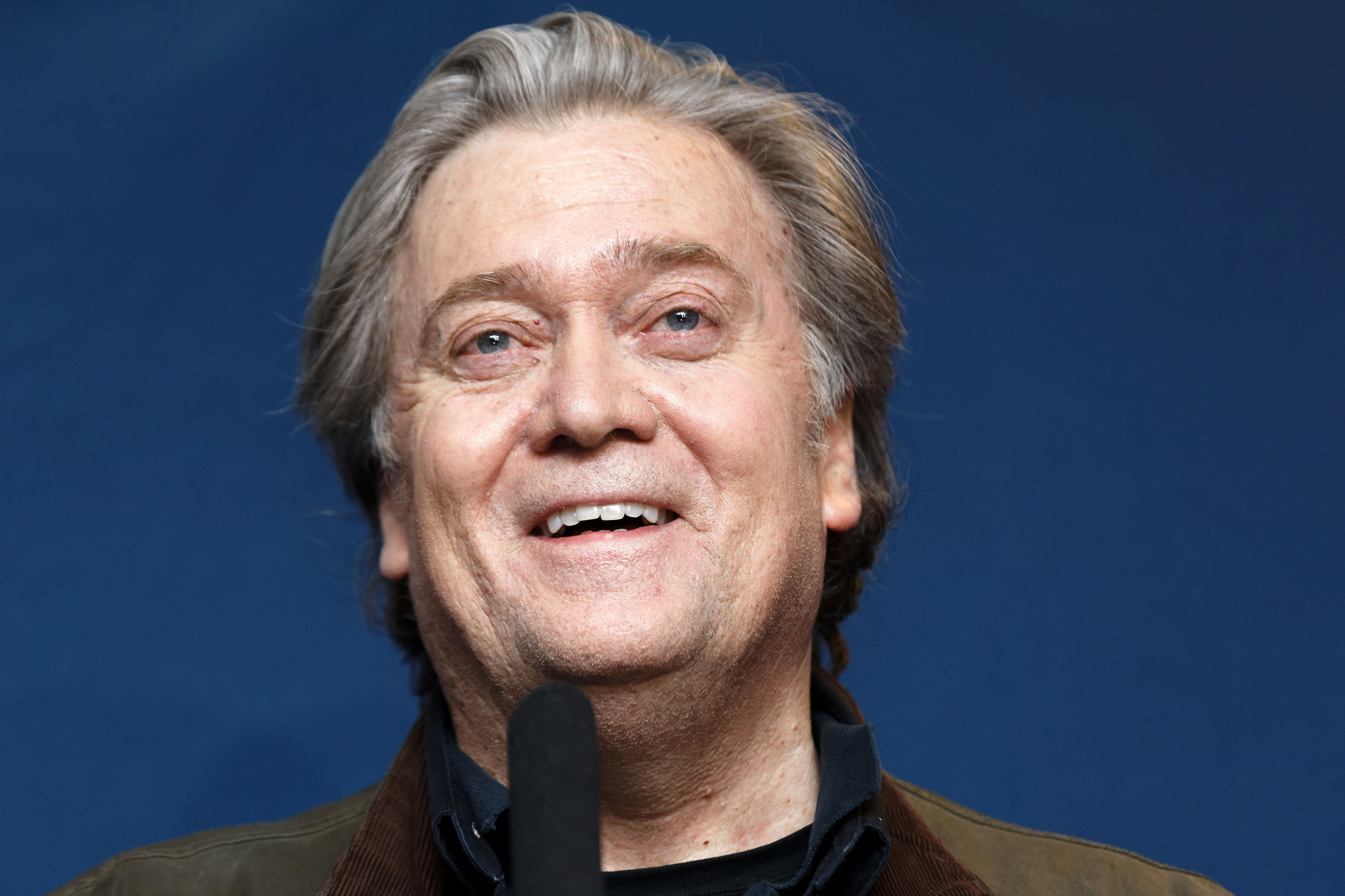 LILLE, FRANCE - MARCH 10:  Former US President advisor Steve Bannon gives a press conference during the French far-right Front National (FN) party annual congress on March 10, 2018 at the Grand Palais in Lille, north of France. Le Pen will attempt to revive her battered party this weekend at a conference with a proposal to ditch the tainted National Front brand, seen as a key hurdle to winning power. on March 10, 2018 in Lille, France.  (Photo by Sylvain Lefevre/Getty Images)