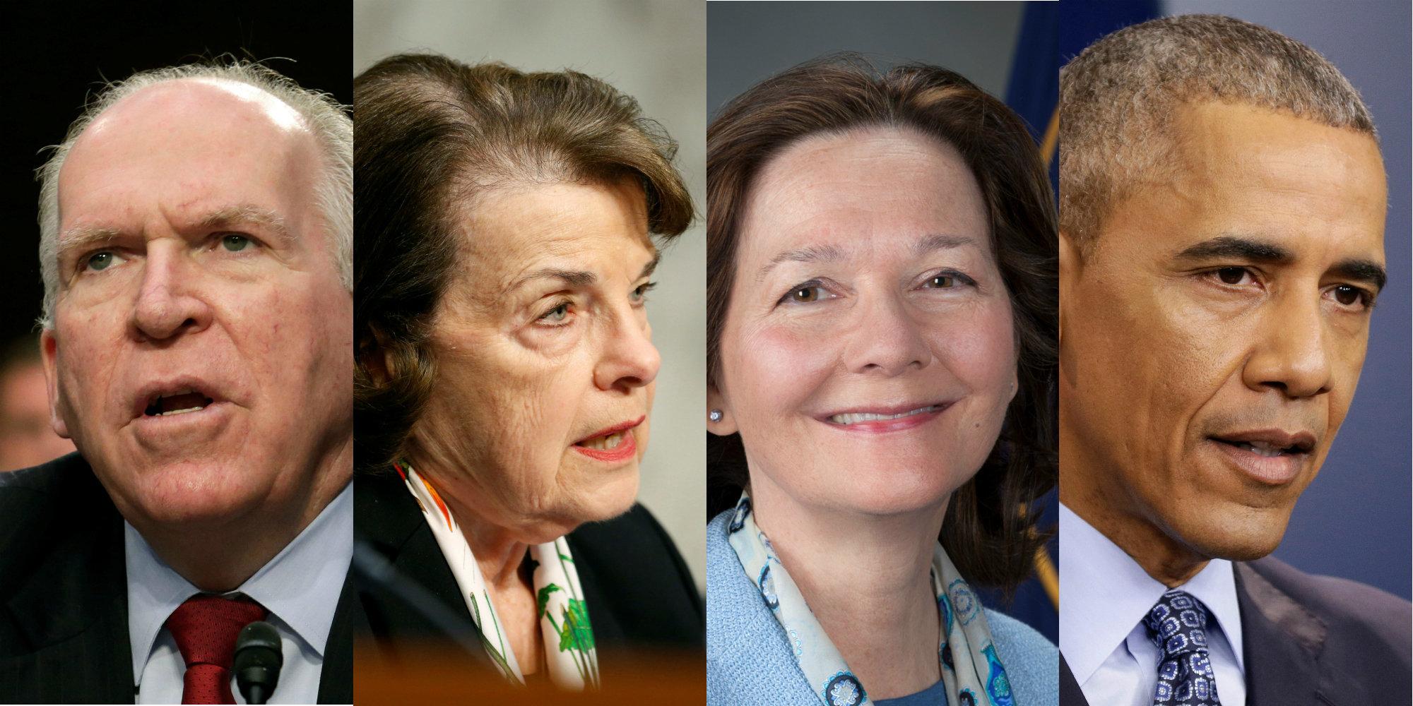 Former CIA Director John Brennan, Senator Dianne Feinstein, CIA Deputy Director Gina Haspel and President Barack Obama.