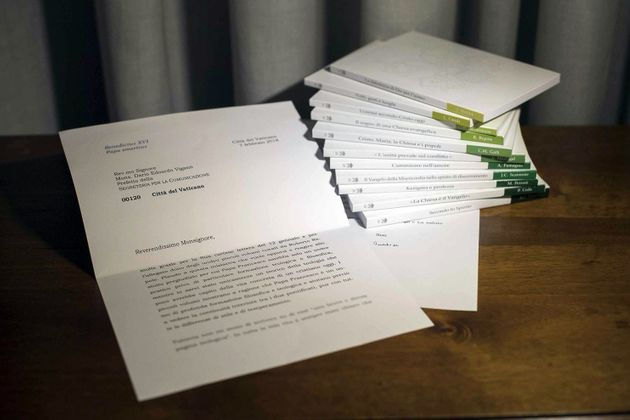 A Vatican media handout shows a letter from retired Pope Benedict