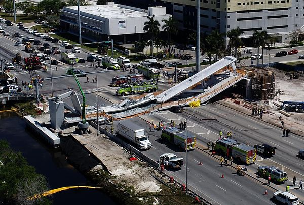 View of the main span of the FIU-Sweetwater UniversityCity Bridgethatcollapsed five days afterit wasi