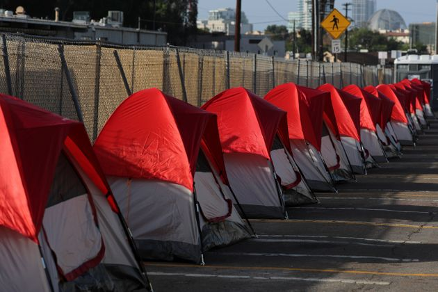 Rows of tents are readied in October 2017 as San Diego opens a transitional camp for homeless...