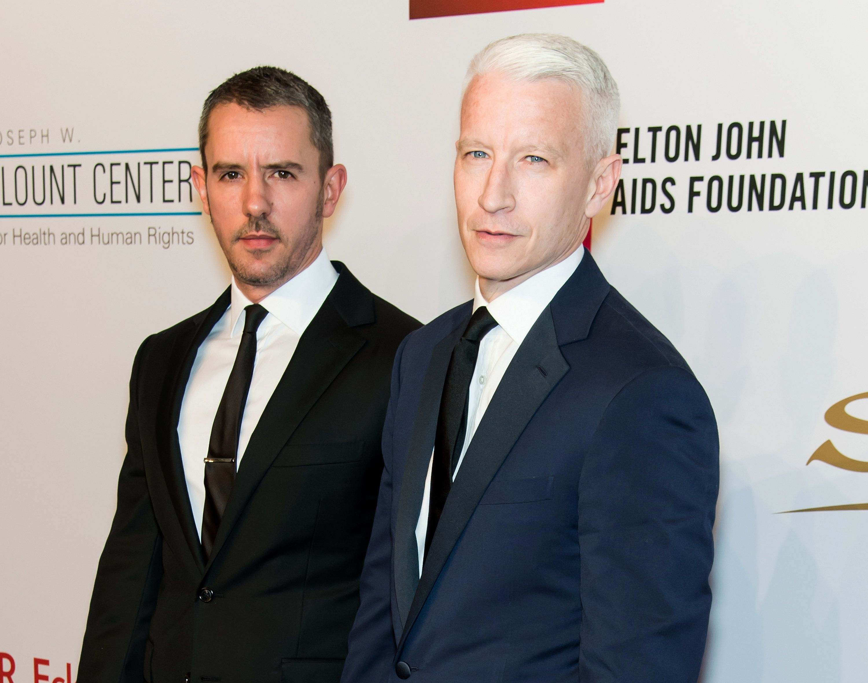NEW YORK, NY - NOVEMBER 02:  Benjamin Maisani (L) and Journalist Anderson Cooper attend Elton John AIDS Foundation's 14th Annual An Enduring Vision Benefit at Cipriani Wall Street on November 2, 2015 in New York City.  (Photo by Gilbert Carrasquillo/FilmMagic)