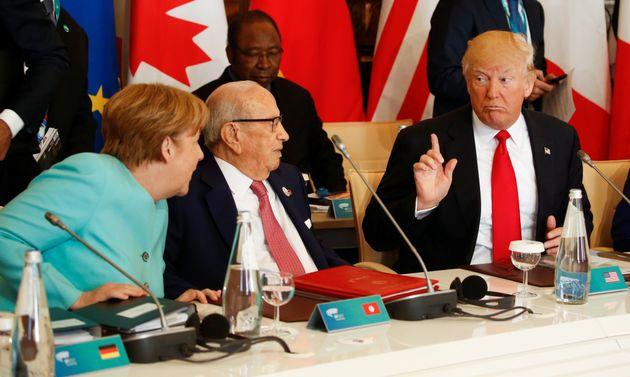 Donald Trump, Béji Caid Essebsi et Angela Merkel au sommet du G7, le 27 mai