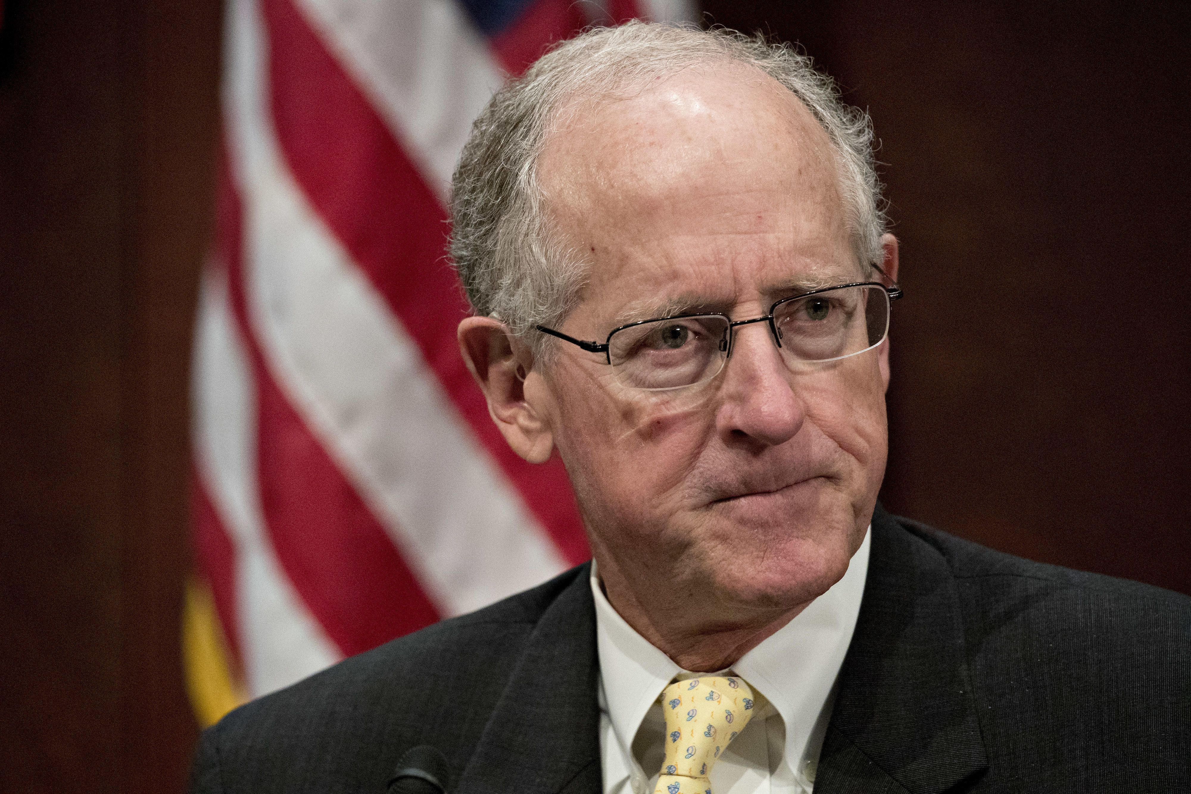 Representative Mike Conaway, a Republican from Texas, waits to chair a House Intelligence Committee hearing in Washington, D.C., U.S., on Wednesday, Nov. 1, 2017. The top Democrat on the Senate Intelligence Committee berated lawyers today for social media giants Facebook, Twitter and Google for a lethargic response to Russian interference in U.S. politics, as the companies' lawyers faced a second day of grilling in Congress. Photographer: Andrew Harrer/Bloomberg via Getty Images