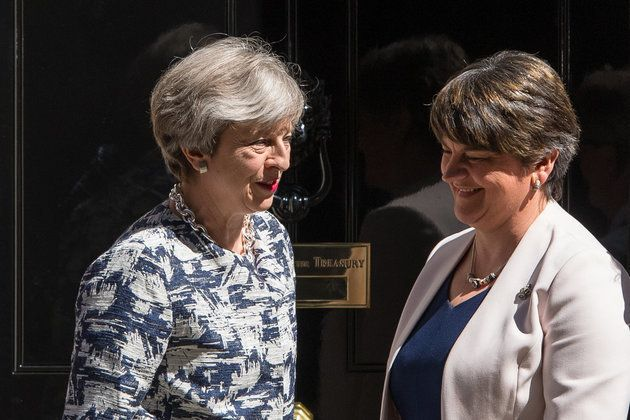 Prime Minister Theresa May greets DUP leader Arlene