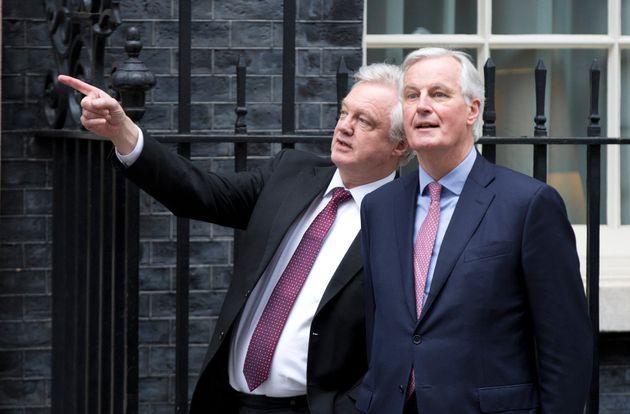 EU Chief Brexit Negotiator Michel Barnierand Brexit Secretary David