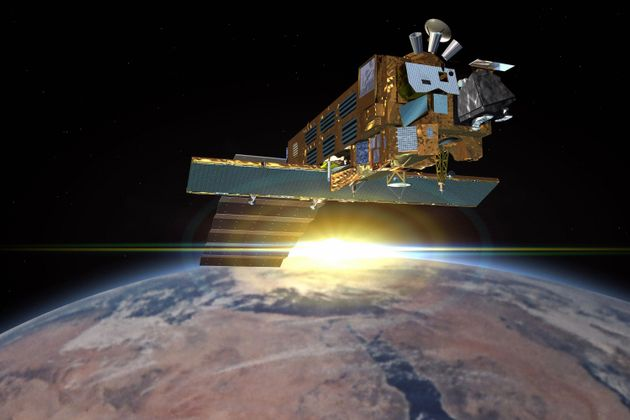 Artist's impression shows the Envisat, an Earth observation satellite launched on March
