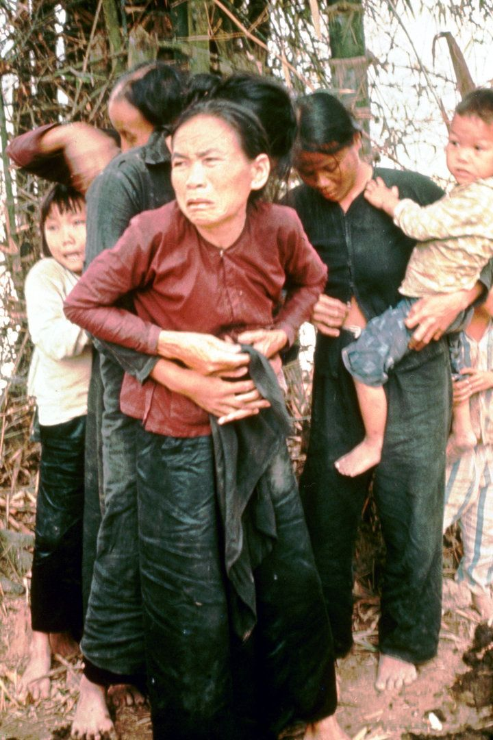 Group of civilian women and children rounded up to be killed by US Army during massacre of village while in pursuit of Vietcong militia, as per order of Lieut. Wm. Calley Jr. (later court-martialed), later known as the Vietnam War's Mylai massacre.  (Photo by Ronald S. Haeberle/The LIFE Images Collection/Getty Images)