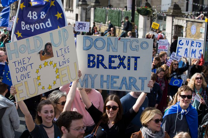 Anti-Brexit campaigners march on Parliament.