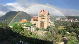Chinese Culture University near Taipei Taiwan recording a rainbow lasting nearly nine hours on Nov 30 2017