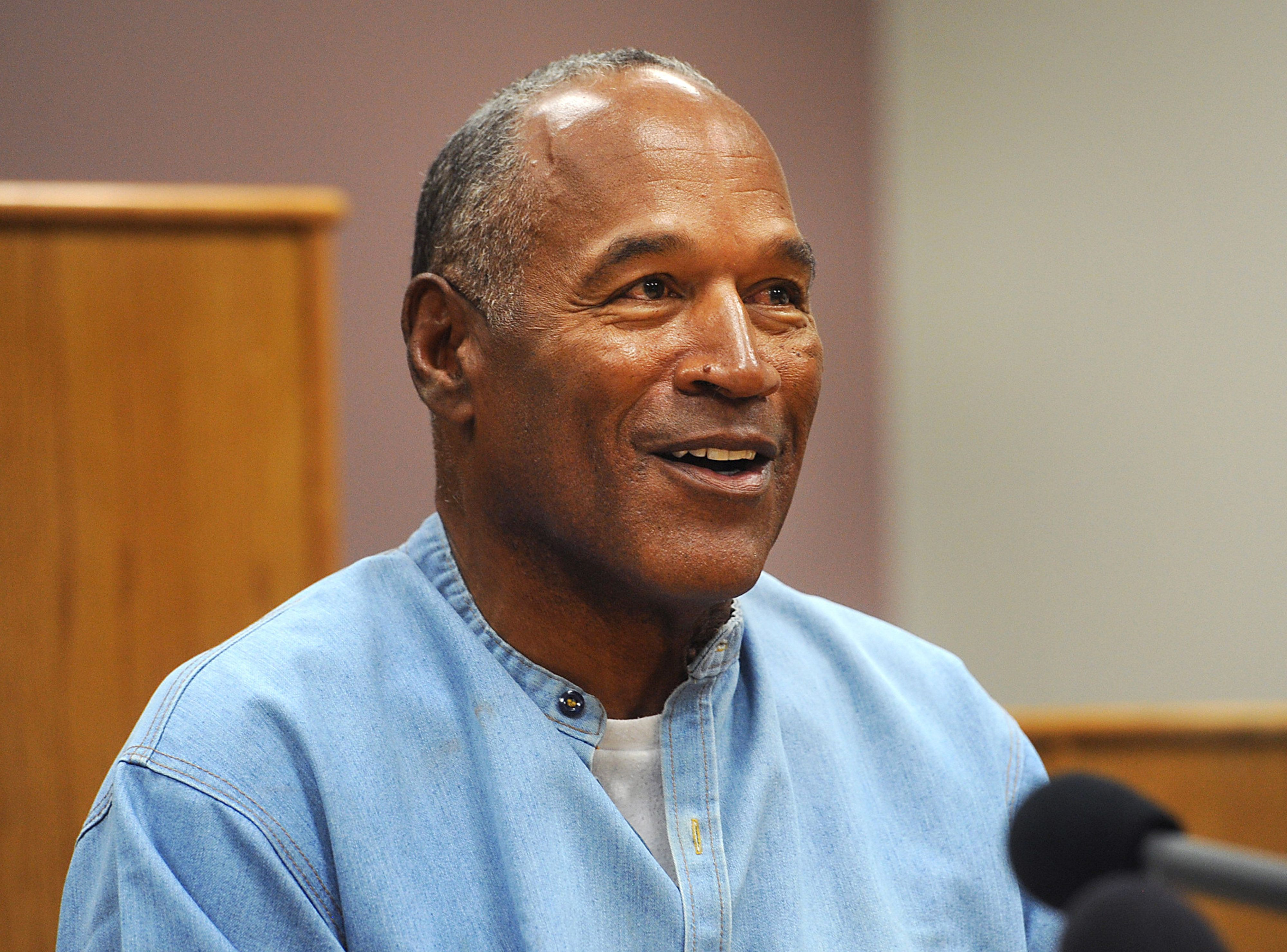 Former professional football player O.J. Simpson speaks during a parole hearing at Lovelock Correctional Center in Lovelock, Nevada, U.S., on Thursday, July 20, 2017. Simpson has been granted parole nine years into a 33-year sentence and could be released as soon as Oct. 1. Photographer: Jason Bean/Pool via Bloomberg