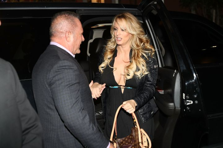 Stephanie Clifford, who uses the stage name Stormy Daniels, arrives to perform at the Solid Gold Fort Lauderdale strip club o