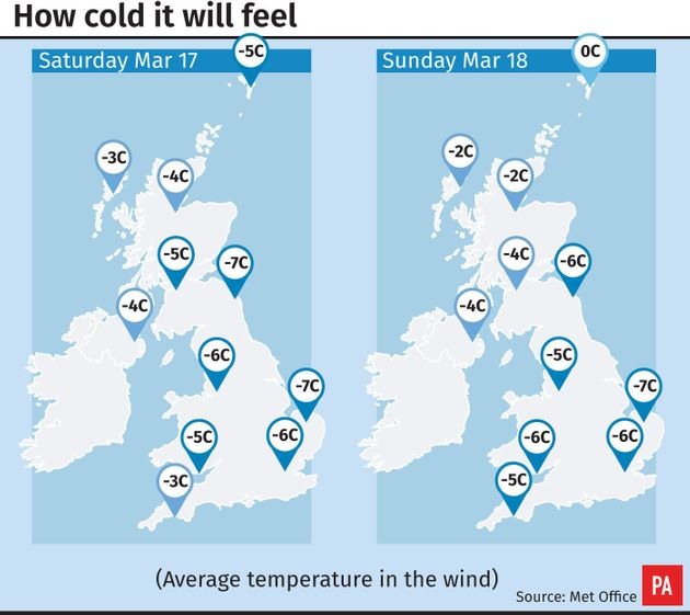 How cold it will feel across the country at the