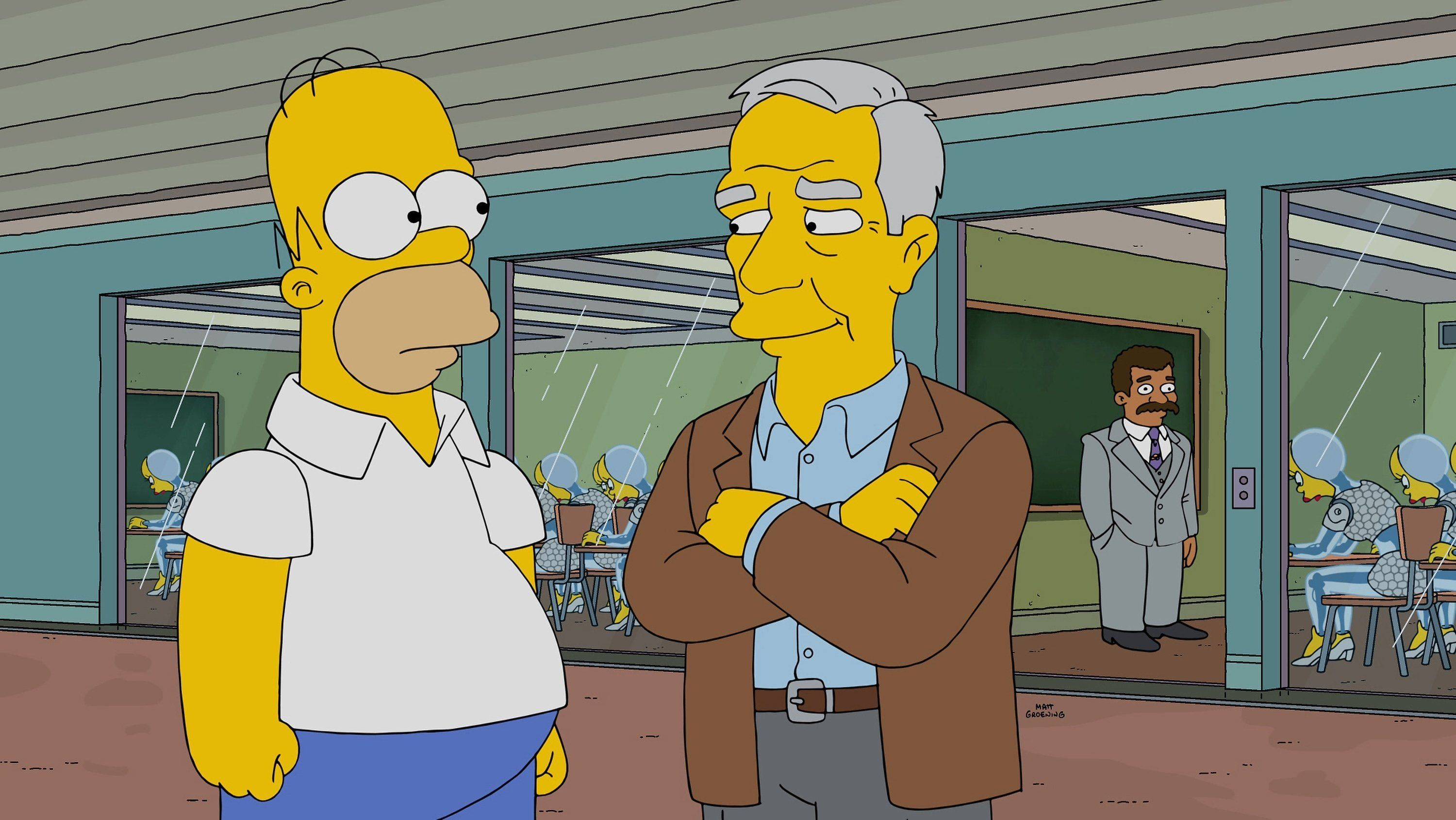 THE SIMPSONS: The Caper Chase episode of THE SIMPSONS airing Sunday, April 2 (8:00-8:30 PM ET/PT) on FOX. L-R: Homer Simpson and guest voice Robert McKee as himself. (Photo by FOX via Getty Images)