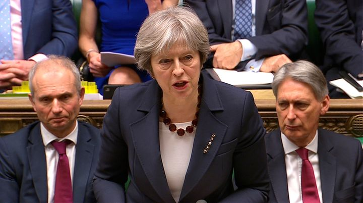 Prime Minister Theresa May addresses the House of Commons on her government's reaction to the poisoning of former Russian intelligence officer Sergei Skripal and his daughter Yulia in Salisbury, in London, March 14, 2018.