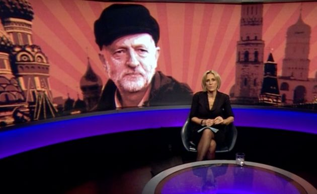 The image of Corbyn wearing a hatwas imposed on an illustration of Moscow's Red Square and appeared...