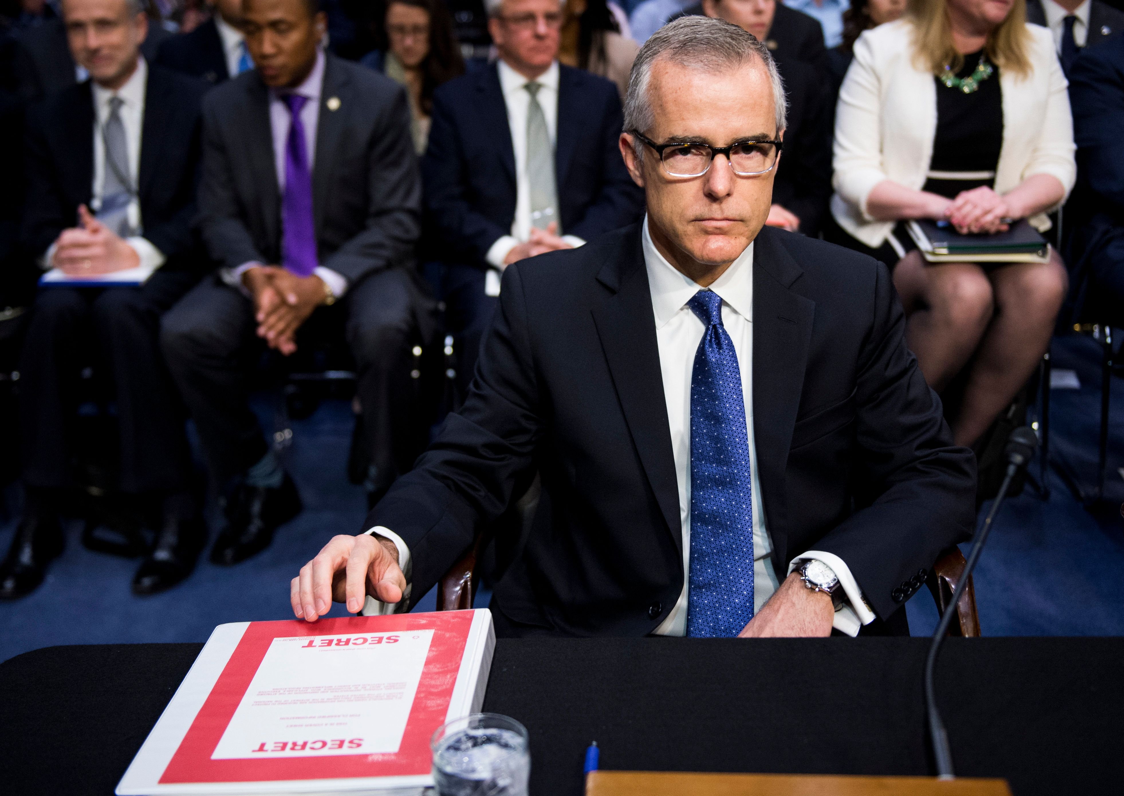 UNITED STATES - MAY 11: Acting FBI Director Andrew McCabe prepares to testify during the Senate (Select) Intelligence Committee hearing on 'World Wide Threats' on Thursday, May 11, 2017. (Photo By Bill Clark/CQ Roll Call)