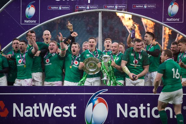 Ireland celebrate winning the Grand Slam and Six Nations Championship after defeating England at Twickenham...