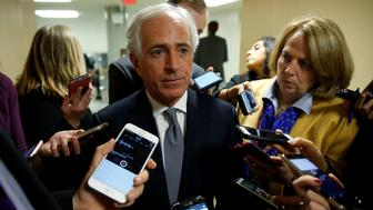 Senator Bob Corker (R-TN) speaks to reporters as he arrives for a nomination vote at the U.S. Capitol in Washington, U.S., December 19, 2017.   REUTERS/Joshua Roberts