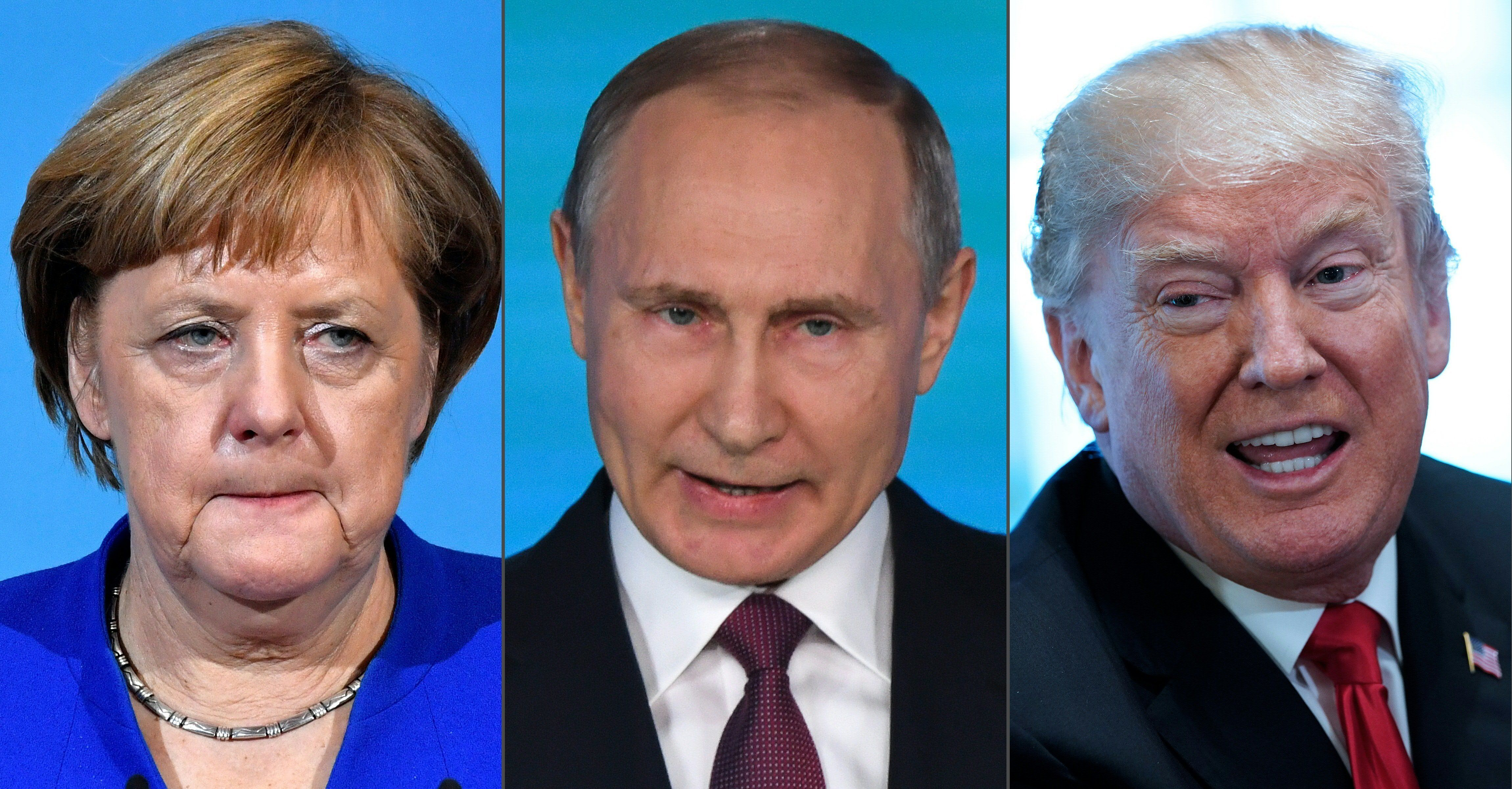 (COMBO) This combination created on March 2, 2018 of file pictures shows German Chancellor Angela Merkel (L, on January 12, 2018 in Berlin), Russian President Vladimir Putin (C, on March 1, 2018 in Moscow) and US President Donald Trump (R, on March 1, 2018 in Washington, DC).  US President Donald Trump and German Chancellor Angela Merkel in a phone conversation shared concern over President Vladimir Putin's claim Russia was developing new 'invincible' weapons, Berlin said on March 2, 2018. / AFP PHOTO        (Photo credit should read JOHN MACDOUGALL,YURI KADOBNOV,MANDEL NGAN/AFP/Getty Images)