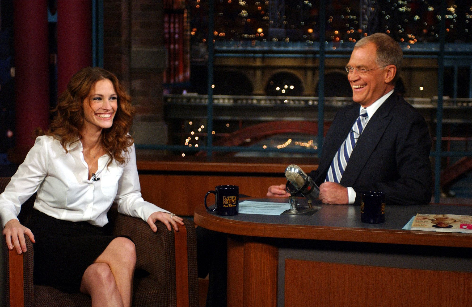 NEW YORK - DECEMBER 12: Julia Roberts talks with Dave when she visits the LATE Show with DAVID LETTERMAN, to be broadcast Friday, Dec. 12, 2003 on the CBS Television Network. This photo is provided by CBS from the Late Show with David Letterman photo archive. (Photo by Jeffrey R. Staab/CBS via Getty Images)