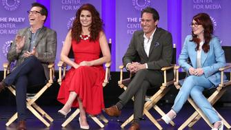 HOLLYWOOD, CA - MARCH 17: (L-R)  Actor Sean Hayes, actress Debra Messing, actor Eric McCormack, and actress Megan Mullally of the television show 'Will & Grace' speak during The Paley Center for Media's 35th Annual PaleyFest Los Angeles at the Dolby Theatre on March 17, 2018 in Hollywood, California.  (Photo by Frederick M. Brown/Getty Images)