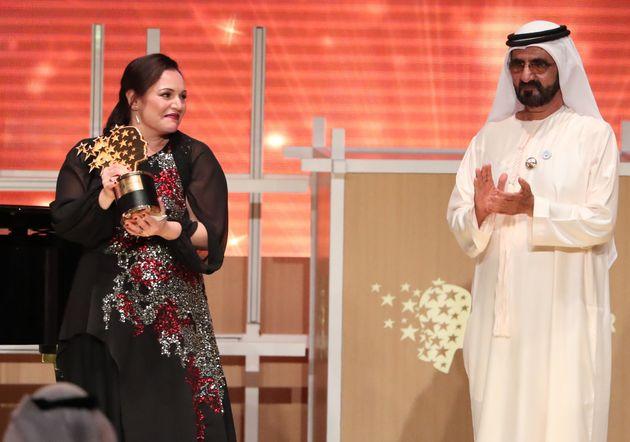 British teacher Andria Zafirakou receives the 'Global Teacher Prize' from Sheikh Mohammed bin Rashid