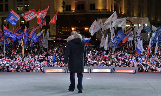 Putin at a rally in Moscow following his