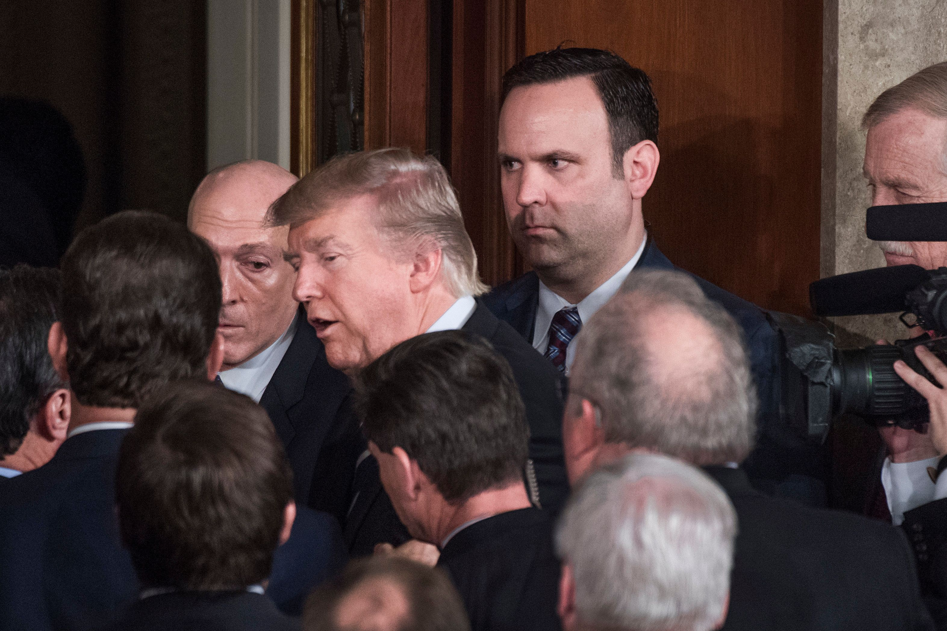 Dan Scavino with President Donald Trump after the president addressed a joint session of Congress on Feb. 28, 2017.
